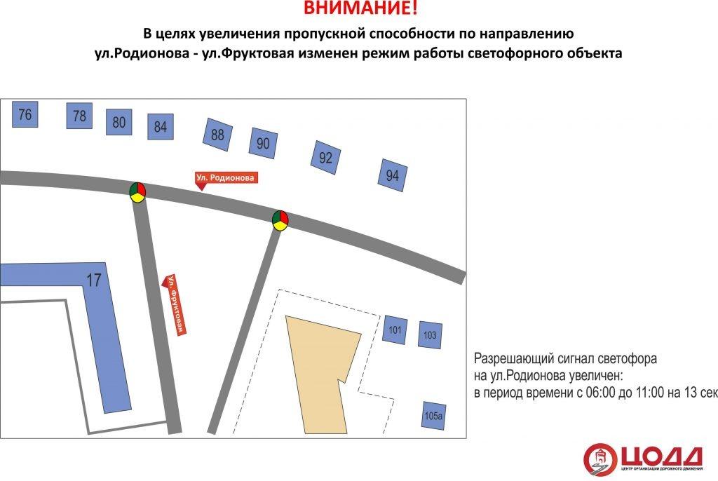 Режим работы светофора изменен на улице Родионова - фото 2